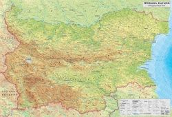 Physical wall-map of Bulgaria 1:270 000