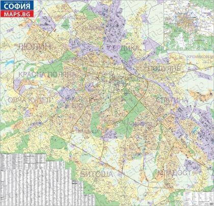 Стенна административна карта на София 1:8 000, старо издание 2009 г., ламинирана