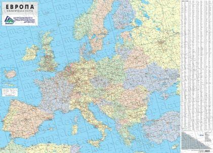 Стенна политическа карта на Европа 1:3 500 000, ламинирана