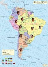 South America - Political wall-map, Races