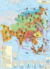 Climatical wall-map of Asia